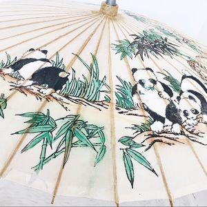 Vintage Wooden Paper Panda Design Umbrella Parasol